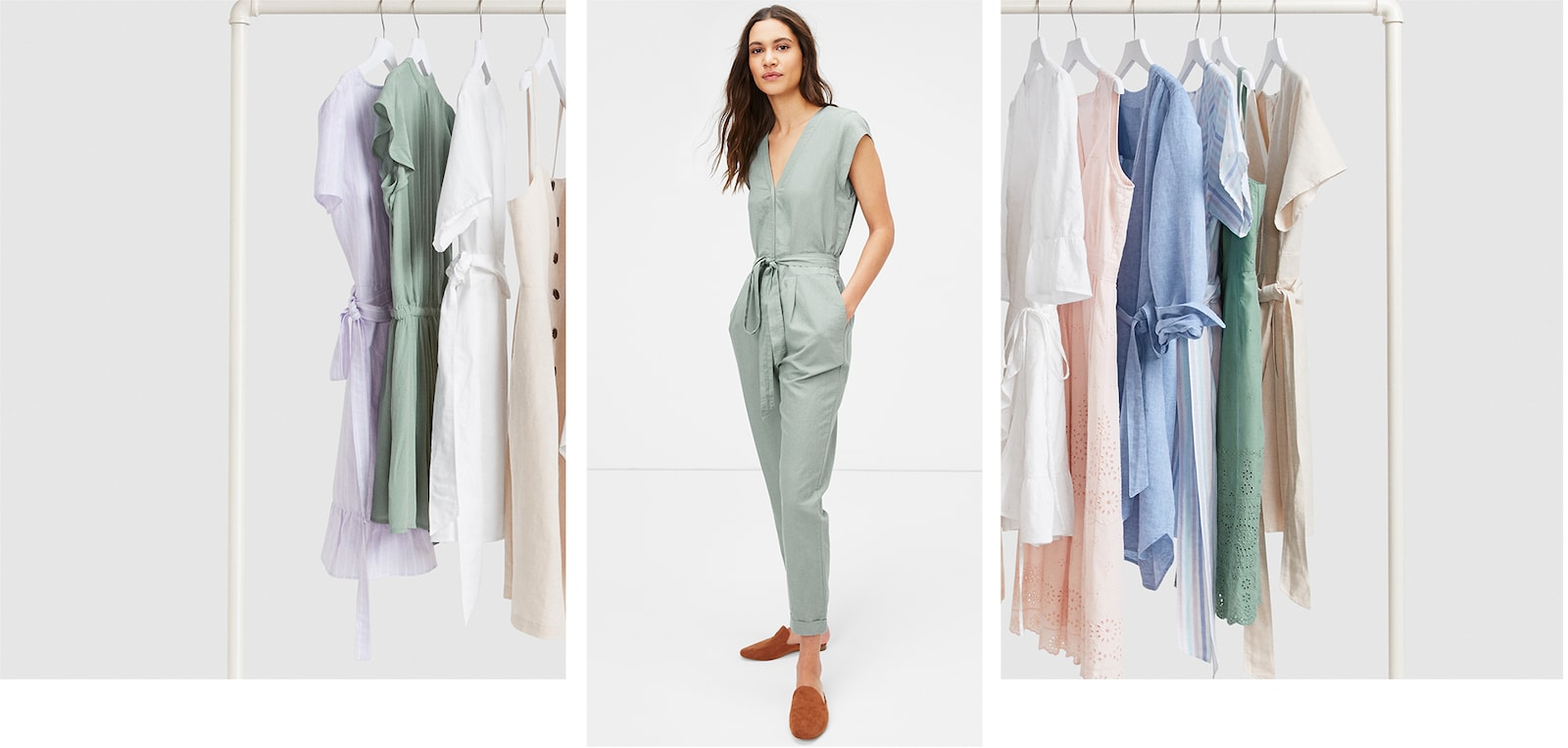IT'S A SPRING THING. Longer days. Warmer nights. Get on your pastels, linen, and chambray.  SHOP DRESSES & JUMPSUITS.