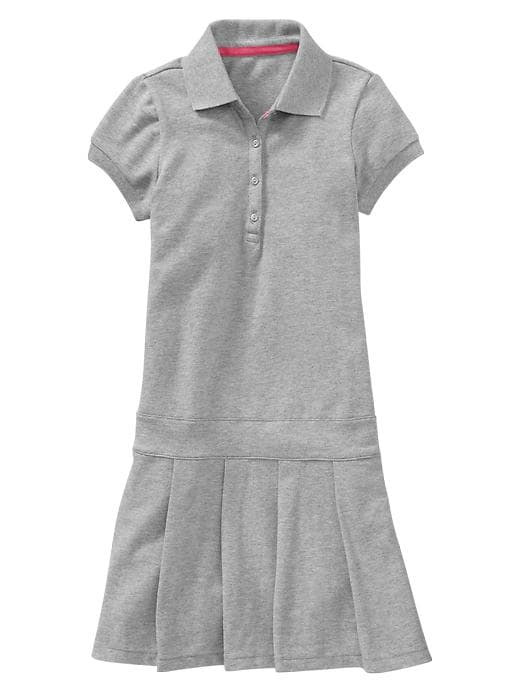 Gap Pleated Polo Dress - B13 lt heather grey - Gap Canada