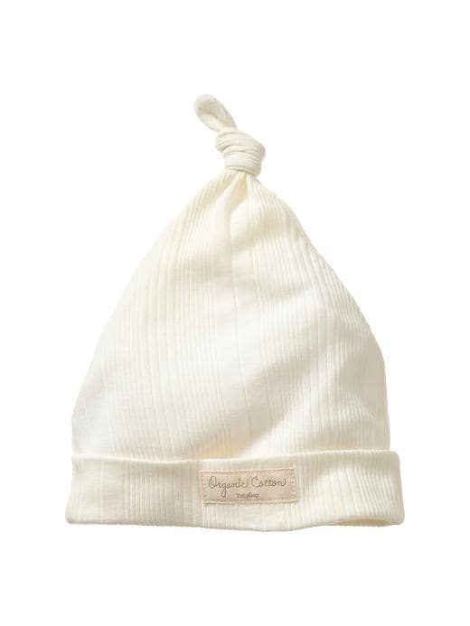 Gap Organic Ribbed Knot Hat - Ivory frost - Gap Canada