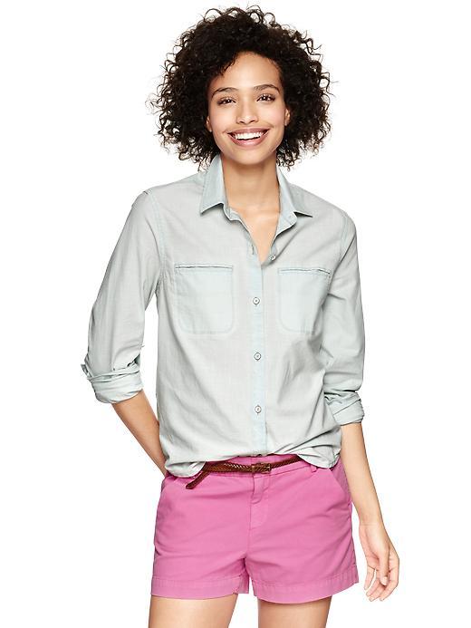 Gap Light Blue Chambray Twin Pocket Shirt - Trinidad - Gap Canada