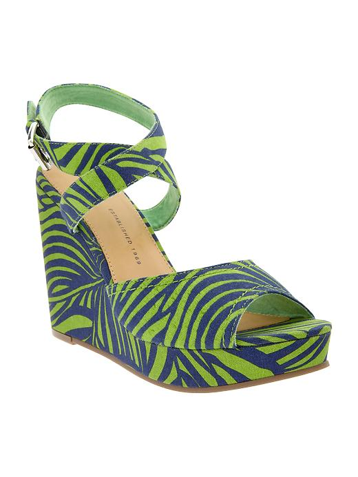 Gap Printed Wedge Sandals - Green & yellow - Gap Canada