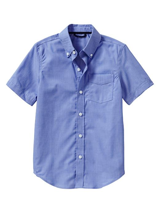 Gap Non Iron Short Sleeve Shirt - Blue end on end - Gap Canada