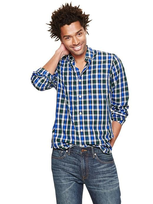 Gap Lived In Wash Long Sleeve Plaid Shirt - Evergreen glamour
