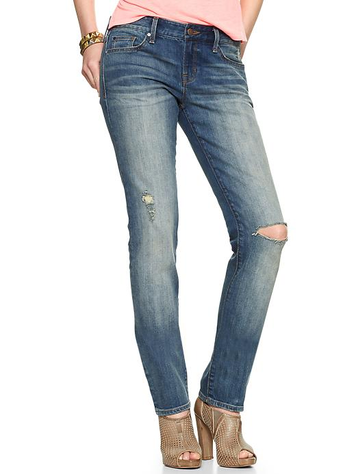 Gap 1969 Destructed Real Straight Jeans - Everglades - Gap Canada
