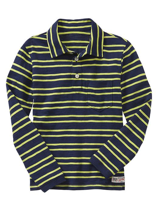 Gap Long Sleeve Striped Pocket Polo - Pangea blue - Gap Canada
