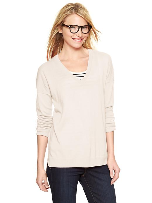 Gap Eversoft V Neck Sweater - Ivory frost - Gap Canada