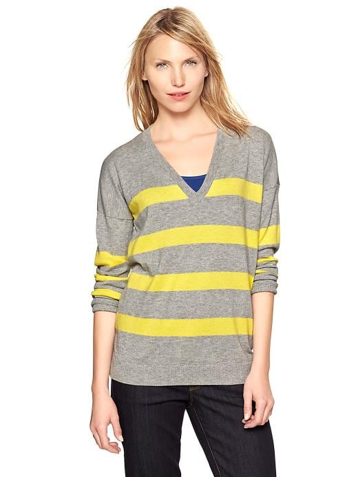 Gap Eversoft Striped V Neck Sweater - Heather gray & yellow - Gap Canada