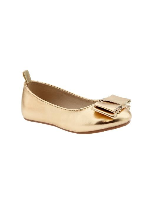 Gap Metallic Bow Ballet Flats - Metallic - Gap Canada