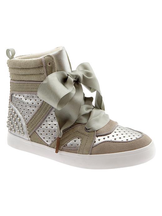 Gap Perforated Hi Top Sneakers - Silver - Gap Canada