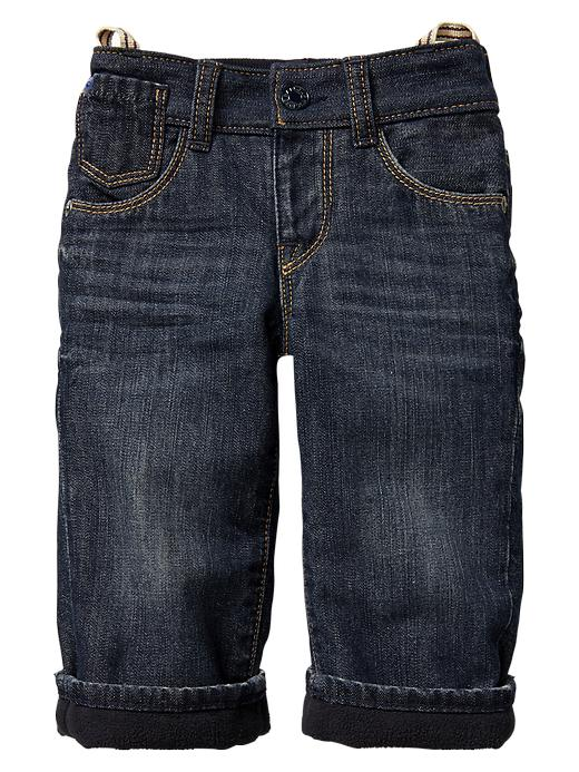 Gap Fleece Lined Loose Fit Jeans - Blue denim - Gap Canada