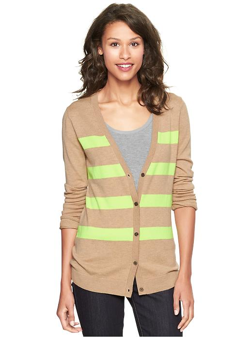 Gap Eversoft Striped Cardigan - Cashew crunch - Gap Canada