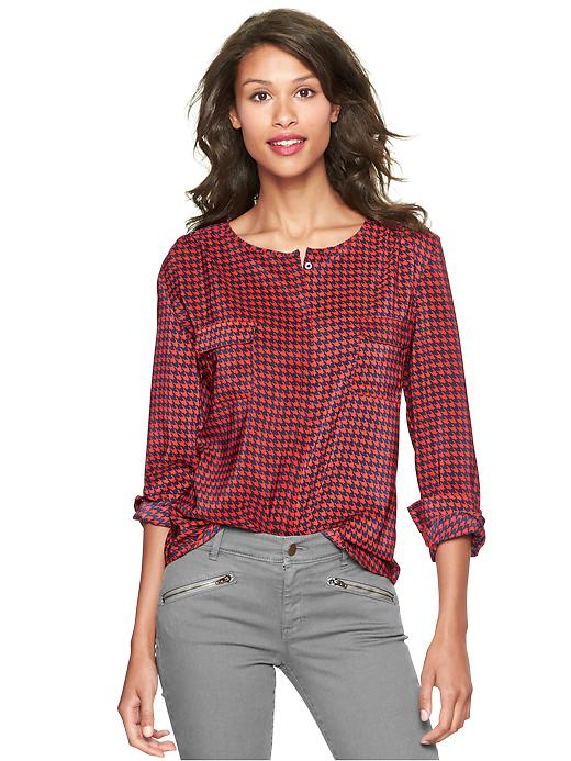 Gap Printed Double Pocket Top - Red plaid - Gap Canada