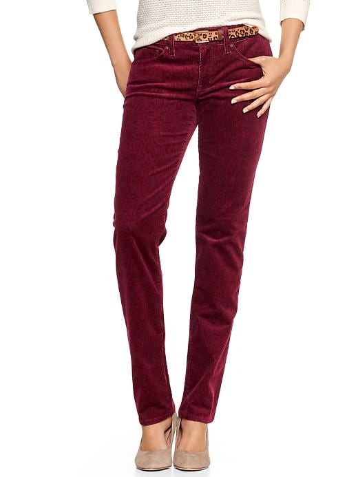 Gap 1969 Leopard Print Real Straight Cords - Ruby wine