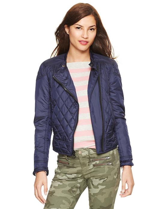 Gap Quilted Moto Puffer Jacket - Navy