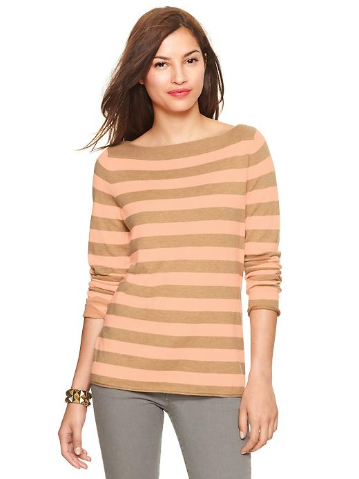 Gap Eversoft Envelope Neck Neon Striped Sweater - Cashew crunch - Gap Canada