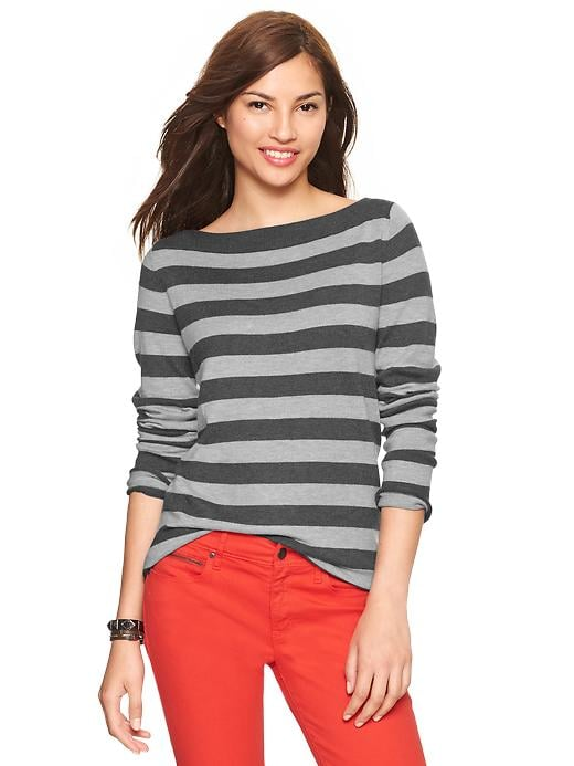 Gap Eversoft Envelope Neck Striped Sweater - Charcoal heather - Gap Canada