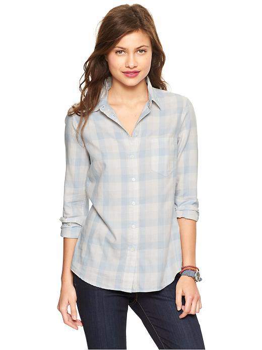 Gap Fitted Boyfriend Plaid Shirt - Blue plaid - Gap Canada