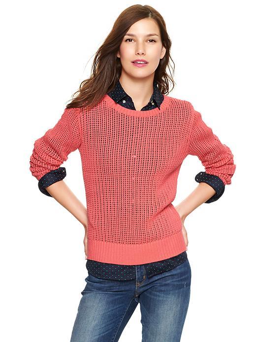 Gap Ladder Stitch Pullover - Pink reef - Gap Canada