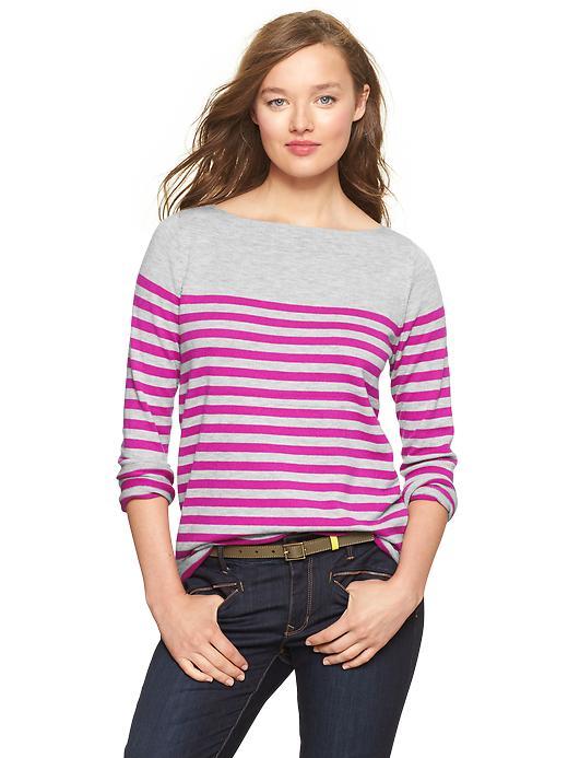 Gap Eversoft Envelope Neck Block Stripe Sweater - Fuchsia stripe - Gap Canada