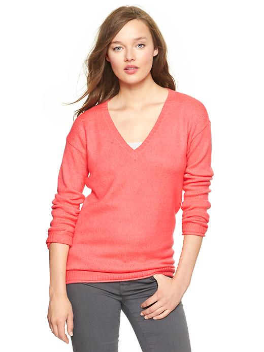 Gap Cozy V Neck Sweater - Neon coral