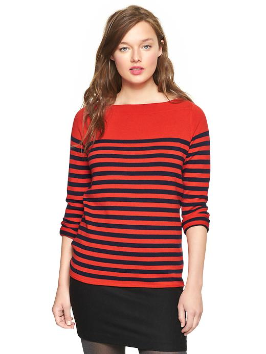 Gap Eversoft Envelope Neck Block Stripe Sweater - Navy stripe - Gap Canada