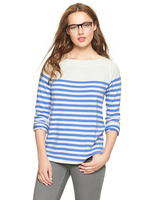 Gap Eversoft Envelope Neck Block Stripe Sweater - Moore blue - Gap Canada