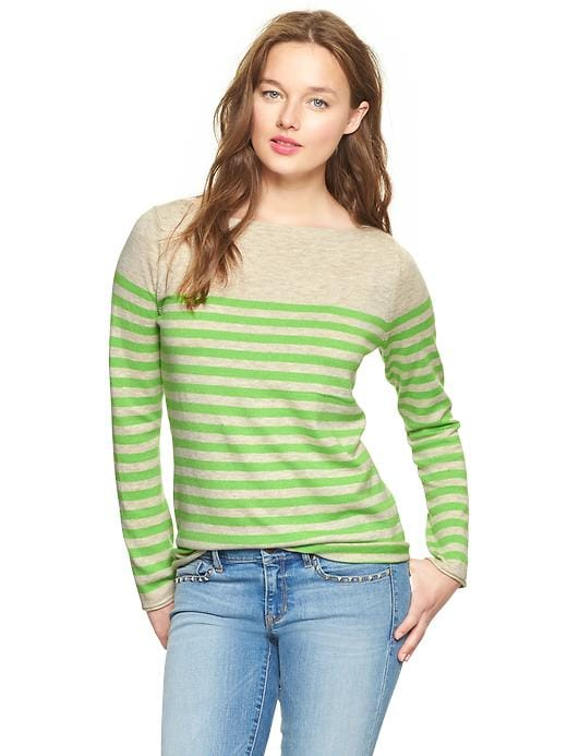 Gap Eversoft Envelope Neck Block Stripe Sweater - Green stripe - Gap Canada