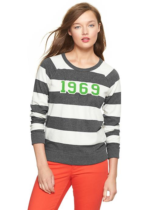 Gap Rugby Stripe Logo Pullover - Gray stripe