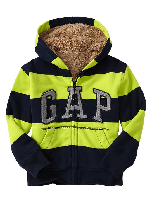 Gap Striped Sherpa Lined Arch Logo Hoodie - Green stripe - Gap Canada