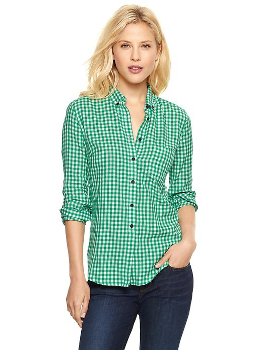 Gap Shrunken Boyfriend Gingham Flannel Shirt - Green gingham - Gap Canada
