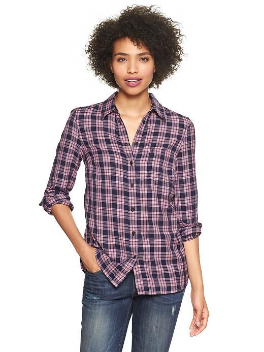Gap Fitted Boyfriend Plaid Shirt - Pink multi plaid - Gap Canada