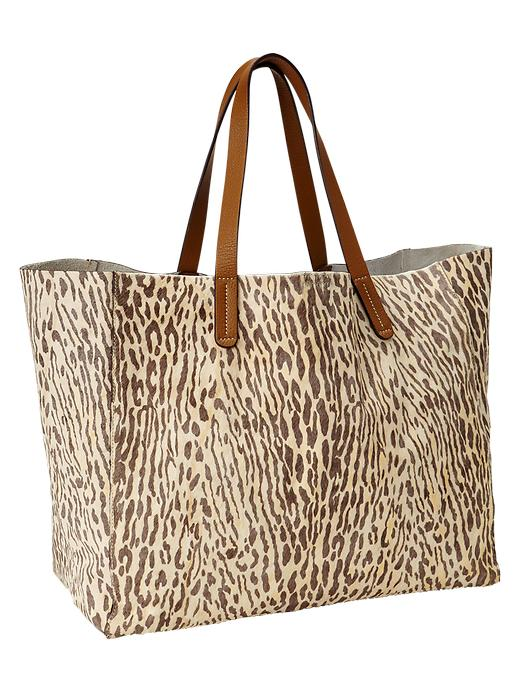 Gap Animal Print Calf Hair Tote - Yellow print - Gap Canada