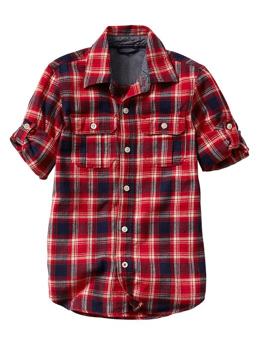 Gap Convertible Red Checkered Flannel Shirt - Red plaid - Gap Canada
