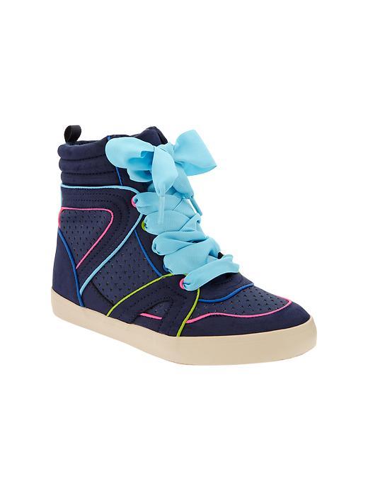Gap Neon Piped Hi Top Sneakers - Elysian blue - Gap Canada