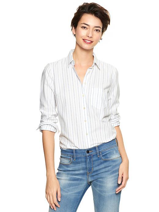 Gap Shrunken Boyfriend Striped Oxford Shirt - Blue stripe - Gap Canada