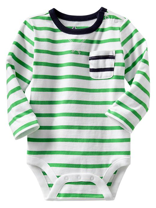 Gap Contrast Pocket Striped Bodysuit - Parrotfish green - Gap Canada