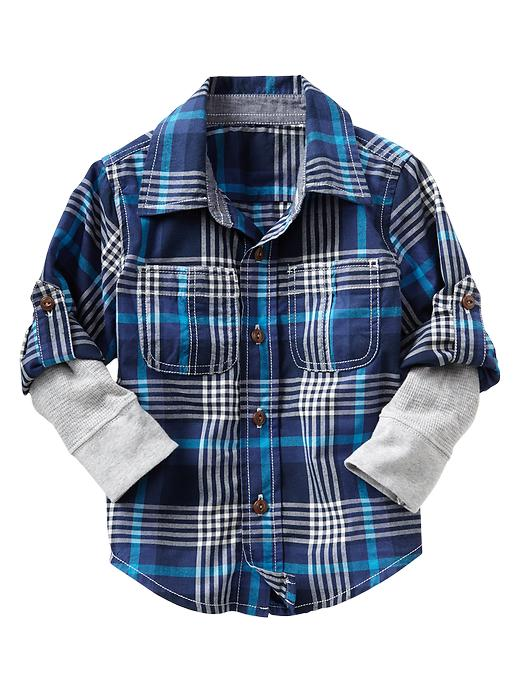 Gap 2 In 1 Plaid Convertible Shirt - Tapestry navy - Gap Canada