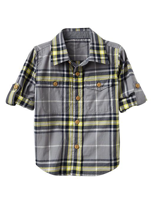 Gap Convertible Multi Plaid Shirt - Cool grey