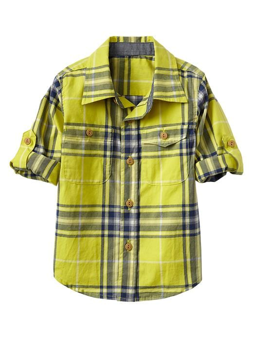 Gap Convertible Multi Plaid Shirt - Phosphorus - Gap Canada