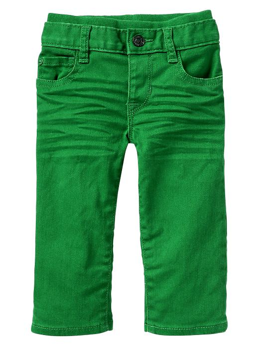Gap Colored Knit Waist Straight Jeans - Green moment - Gap Canada