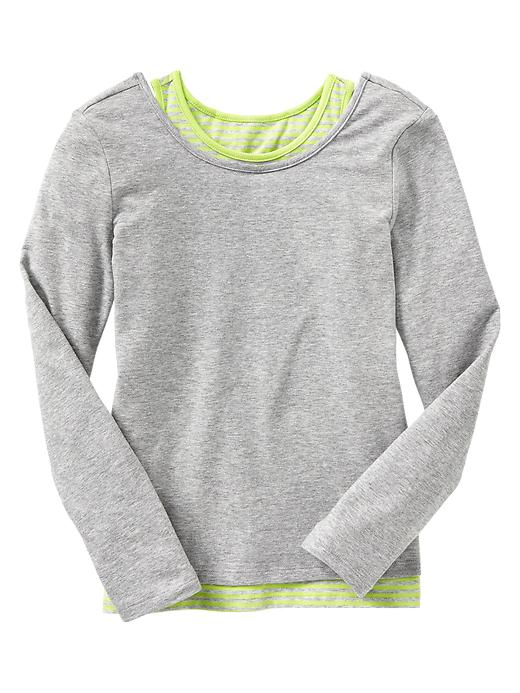 Gap 2 In 1 Active Stripe T - Lt heather grey - Gap Canada