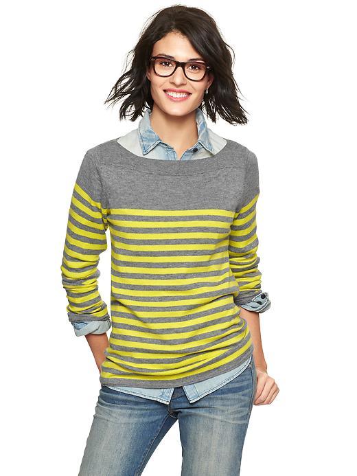 Gap Eversoft Envelope Neck Block Stripe Sweater - Gray & yellow - Gap Canada