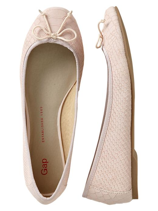 Gap Snakeskin Leather Ballet Flats - Pink cameo - Gap Canada