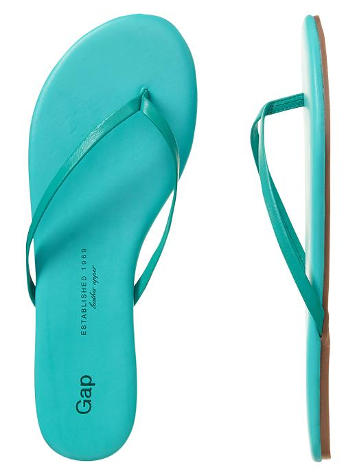 Gap Leather Flip Flops - Green cascade