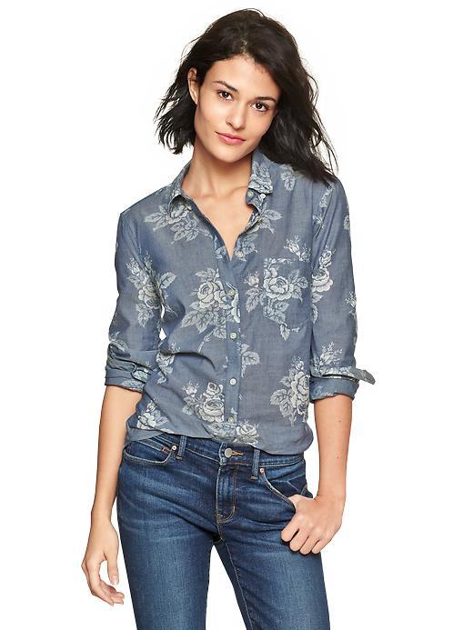 Gap New Tailored Floral Chambray Shirt - Chambray floral - Gap Canada