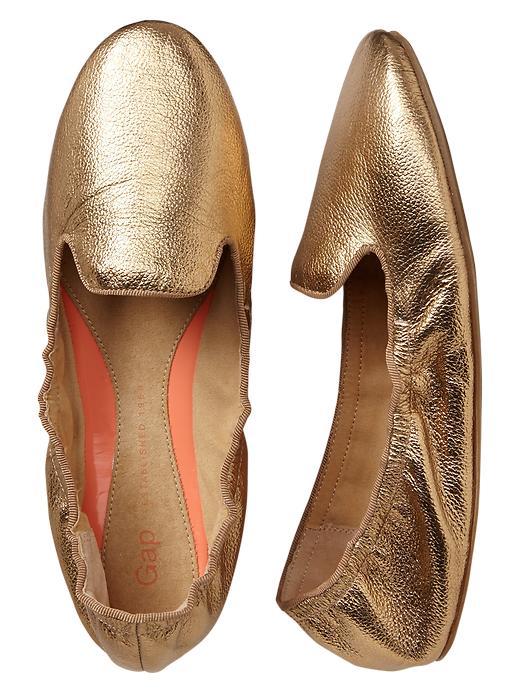Gap Metallic Scrunch Leather Loafers - Gold - Gap Canada
