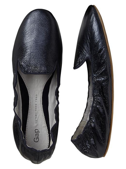 Gap Metallic Scrunch Leather Loafers - Navy - Gap Canada