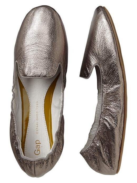 Gap Metallic Scrunch Leather Loafers - Pewter - Gap Canada