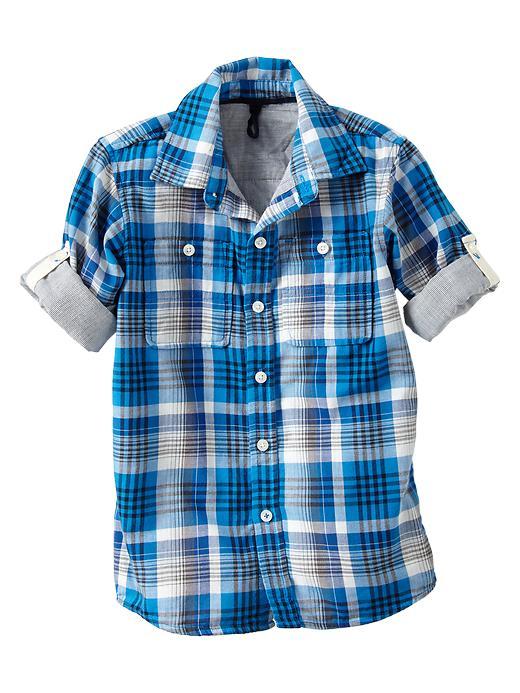 Gap Convertible Plaid Double Weave Shirt - Blue plaid
