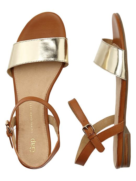 Gap Leather Sandals - Gold - Gap Canada